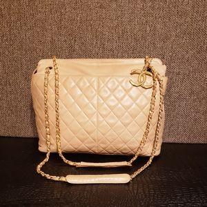 Authentic Chanel Lamb Skin Tote